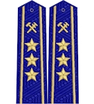 Shoulder straps ж/д вышитое поле  старшие 3 звезды